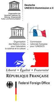 Les logos des Commissions allemande et la française pour l'UNESCO et des ministères des Affaires étrangères en France et en Allemagne.