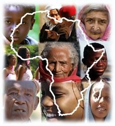 Logo du site web - contour de l'Afrique avec des faces des Africains
